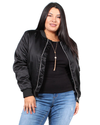 Hello Beautiful Satin Plus Jacket 1X / Black