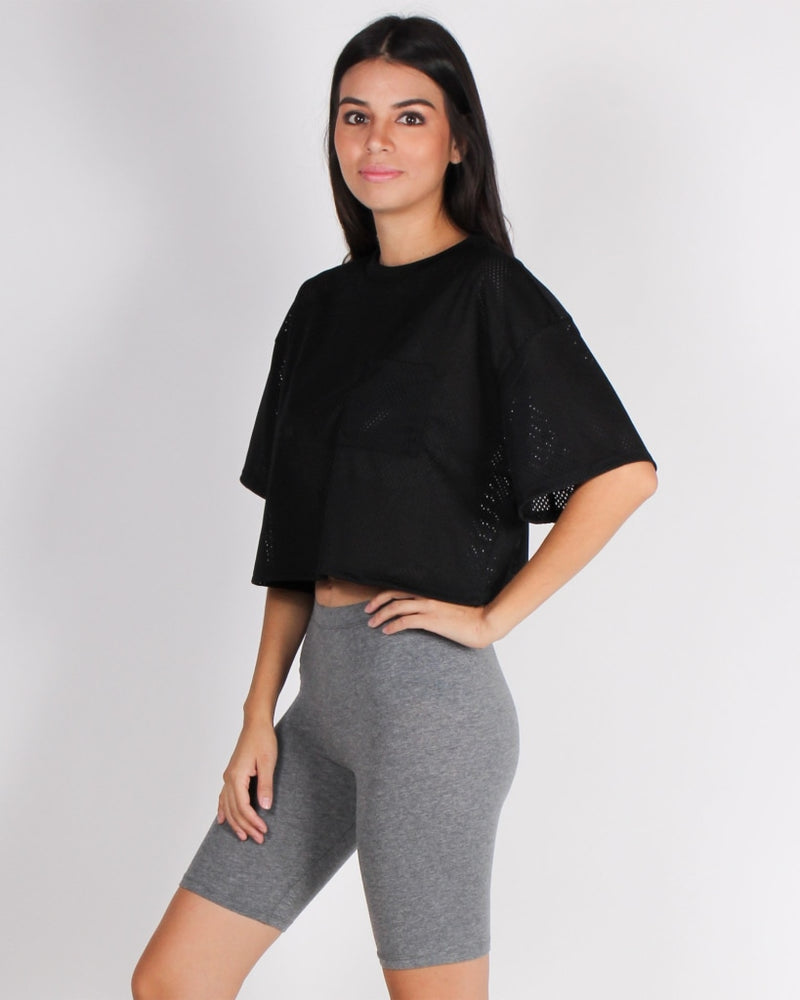Hello Week Lets Do This Crop Top (Black) Black / S T-Shirts