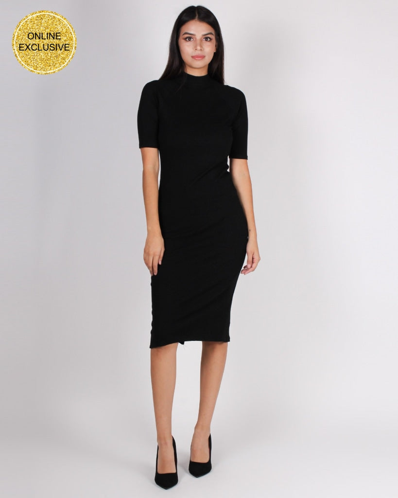 Hide Your Crazy And Act Like A Lady Mock Turtleneck Bodycon (Black) Black / S Dresses