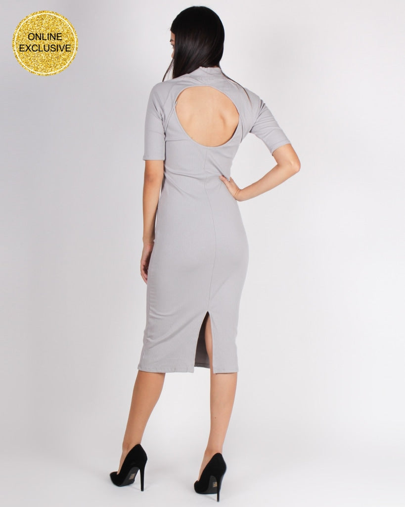 Hide Your Crazy And Act Like A Lady Mock Turtleneck Bodycon (Grey) Grey / S Dresses
