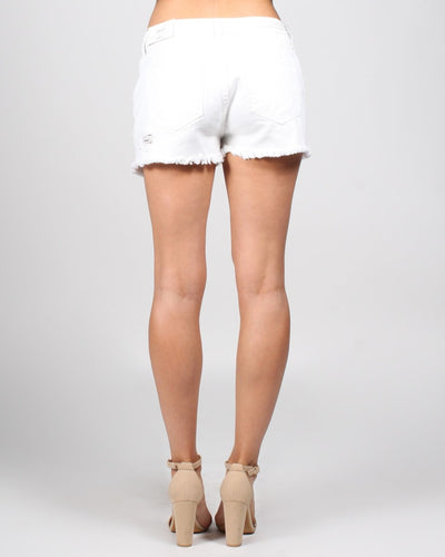High Rise White Distressed Shorts