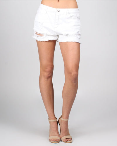 High Rise White Distressed Shorts Xs /