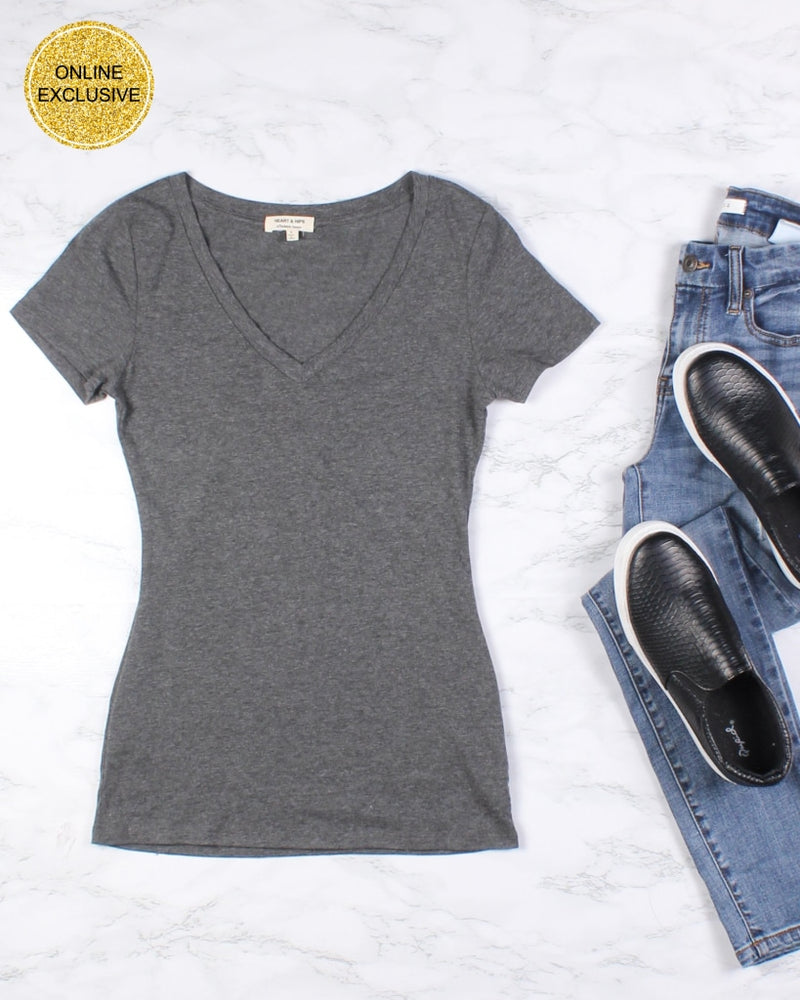 Hope You Are V-Neck Basic Tee (Heather Charcoal) Heather Charcoal / S
