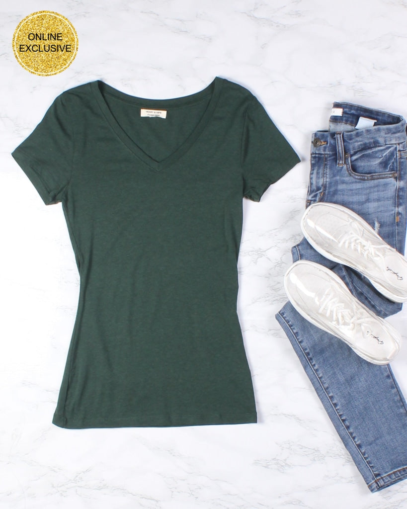 Hope You Are V-Neck Basic Tee (Pine Green) Pine Green / S