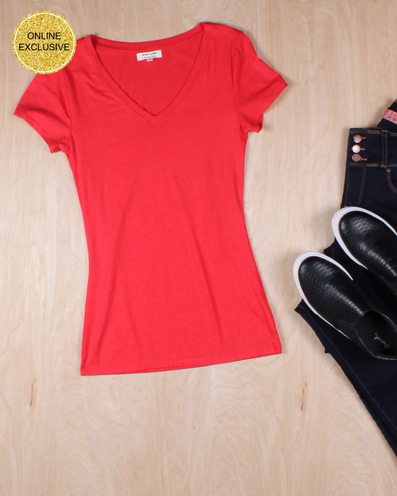 Hope You Are V-Neck Basic Tee (Red) Red / S