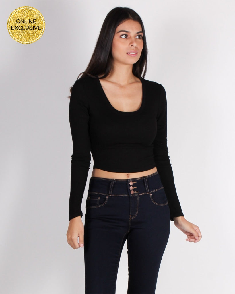Im In It To Win Vibes Crop Top (Black) Black / S Tops