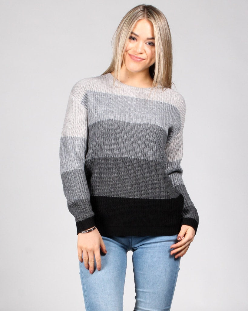 In The Knit Of Time Sweater S / Greyscale Combo Tops