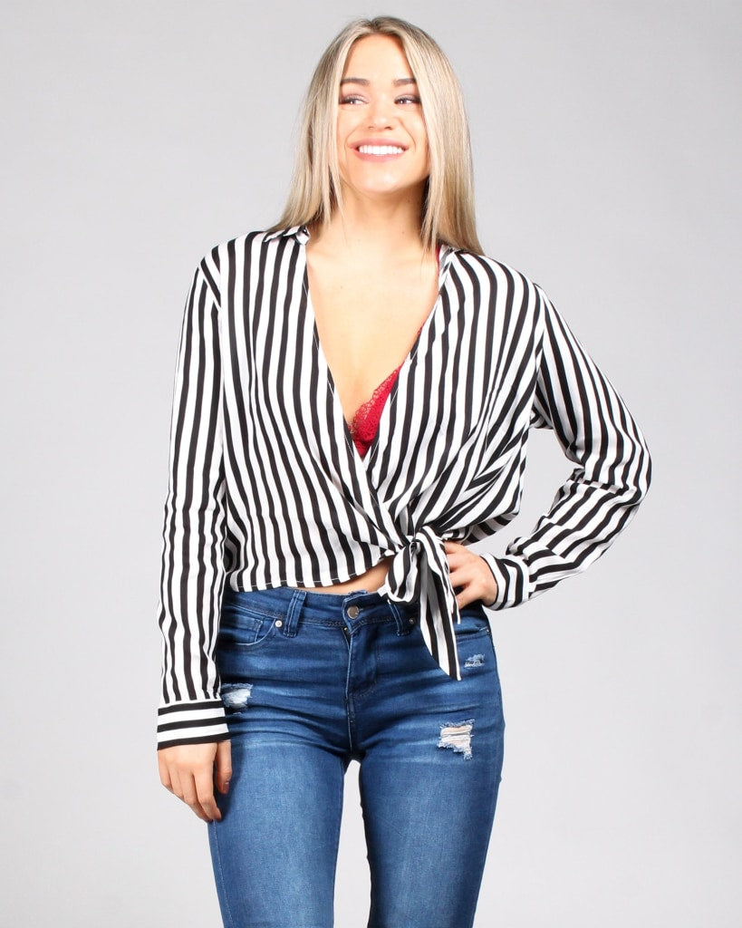 In The Stripes Of Things Wrap Top S / Black And Ivory Tops