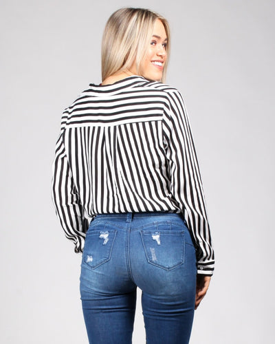 In The Stripes Of Things Wrap Top Tops