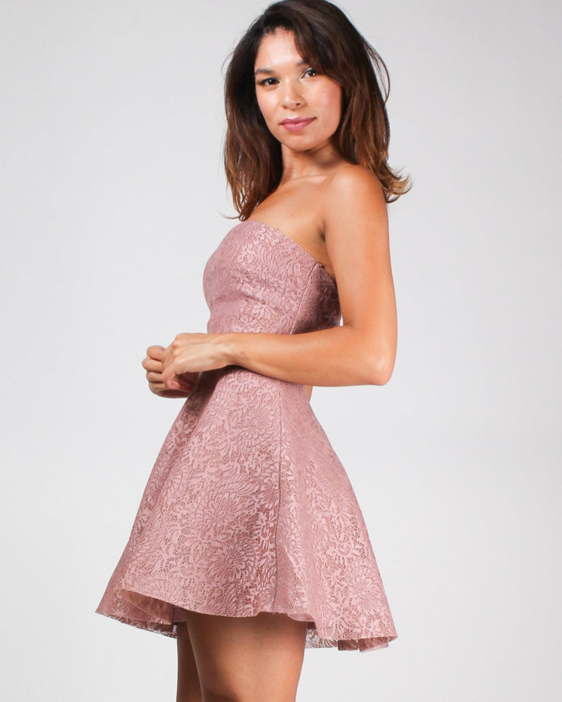 Just My Cup Of Tea Lace Dress Mauve / S Dresses