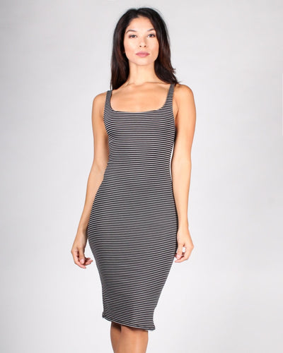 Keep On Striping Tank Dress S / Black And Soft White Stripes Dresses