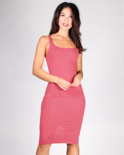 Keep On Striping Tank Dress S / Red And Soft White Stripes Dresses