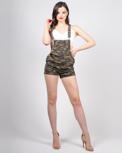 Kind Hearted Fierce Mind Camo Overalls Bottoms
