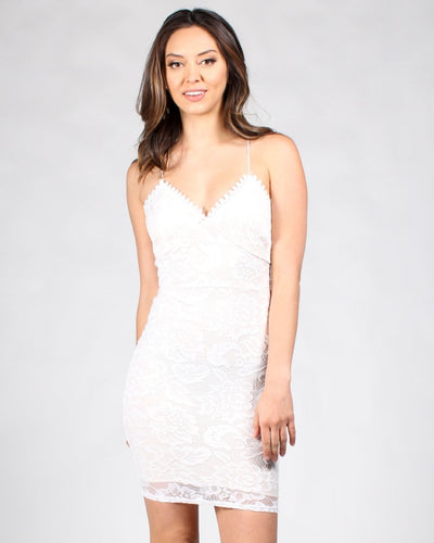 Lace Your Fears Bodycon Dress S / Off White Dresses