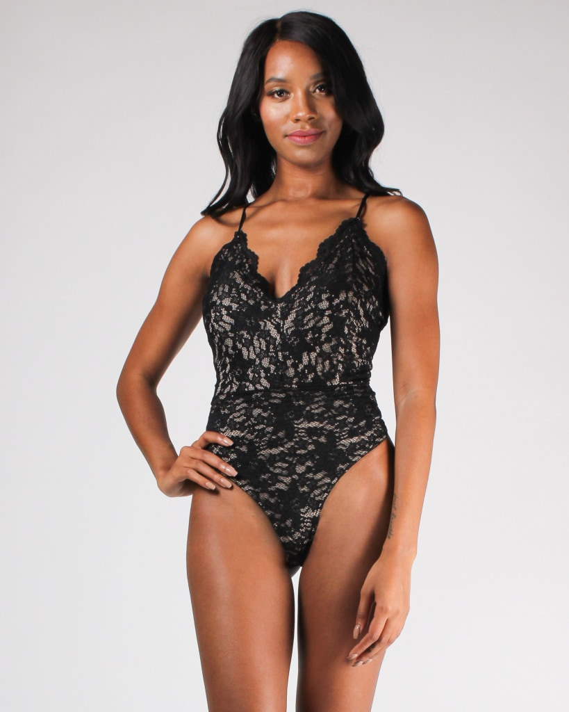 Lace Yourself Bodysuit Black/taupe / S