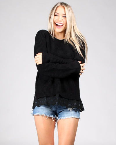 Laced To Be Knit Sweater S / Black Tops