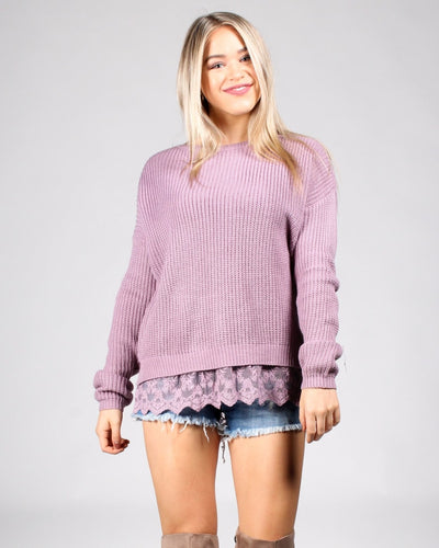 Laced To Be Knit Sweater S / Light Plum Tops