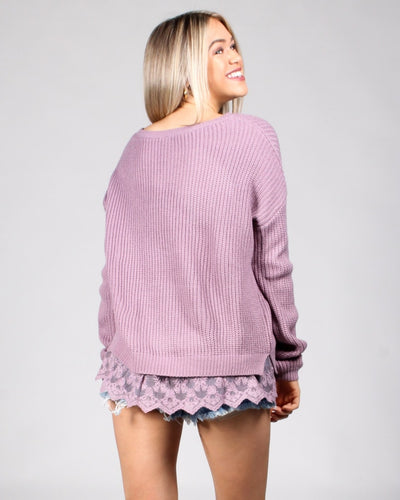 Laced To Be Knit Sweater Tops