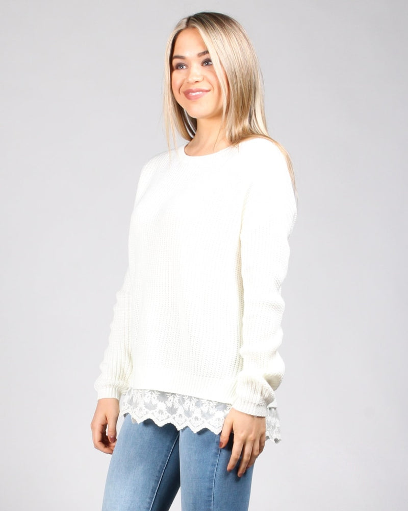 Laced To Be Knit Sweater S / Ivory Tops