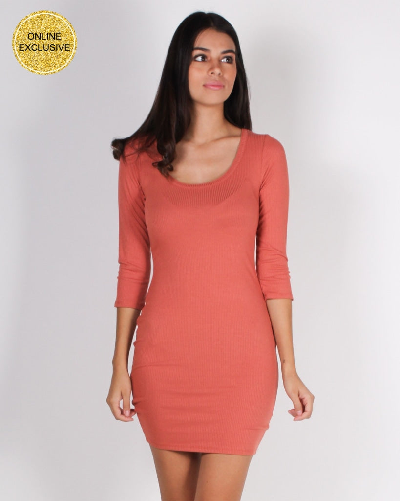 Laughing Is Contagious Bodycon Dress (Terracotta) Terracotta / S Dresses