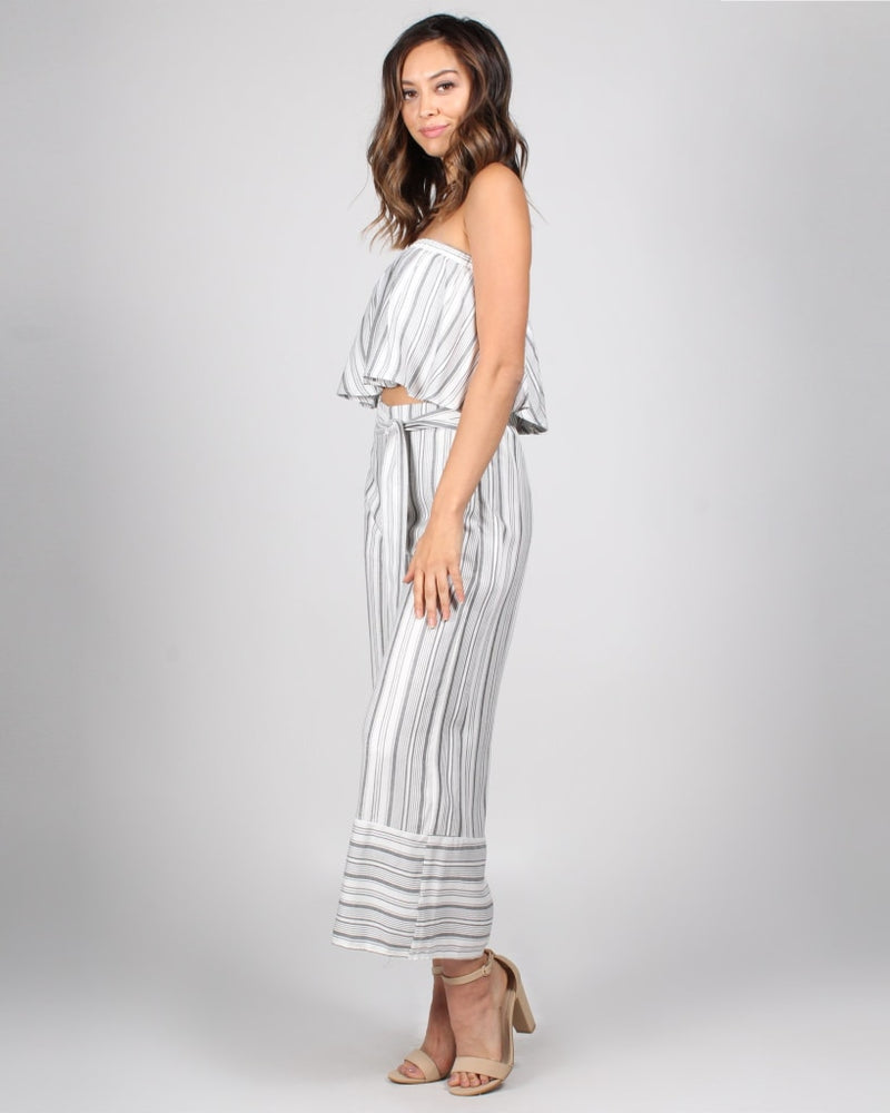 Lets Go Play 2-Piece Set S / Cream/grey Stripes