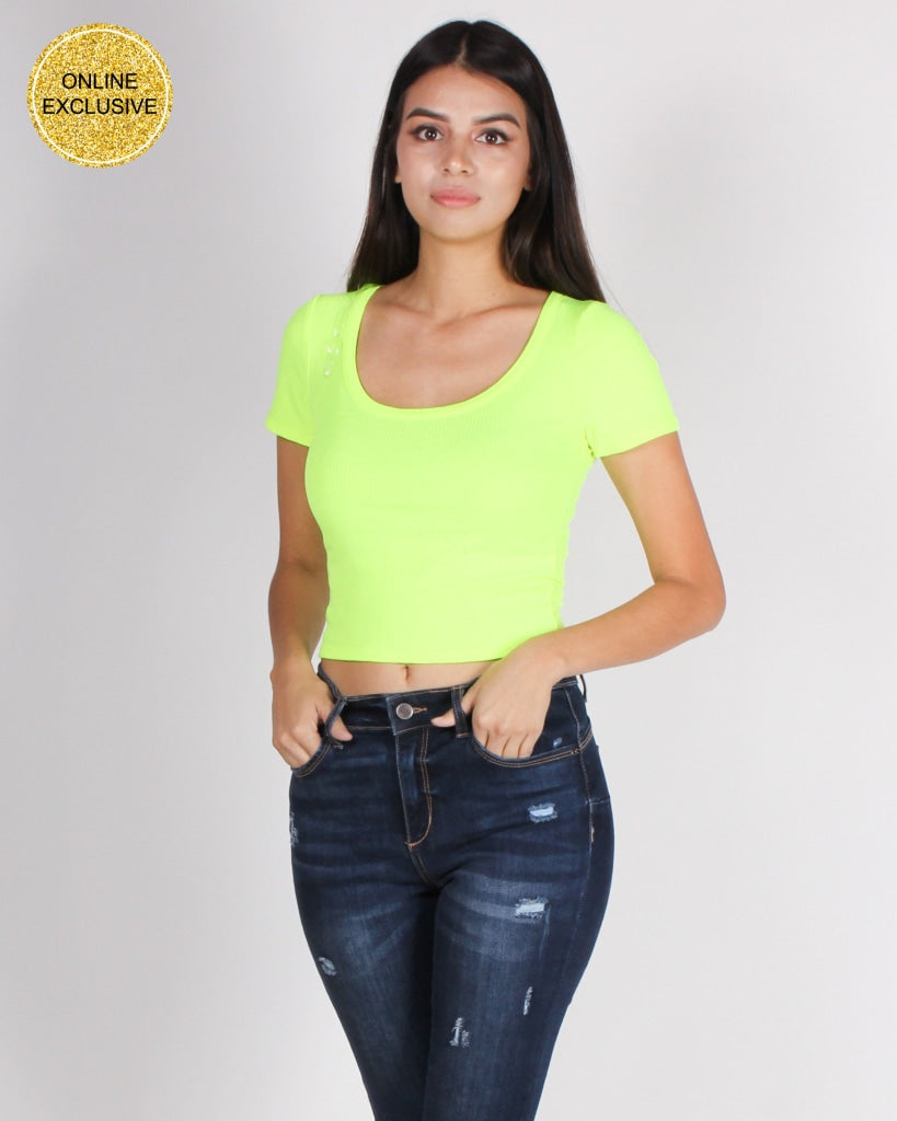 Life Is A Game Play It Crop Top (Neon Lime) Neon Lime / S Tops