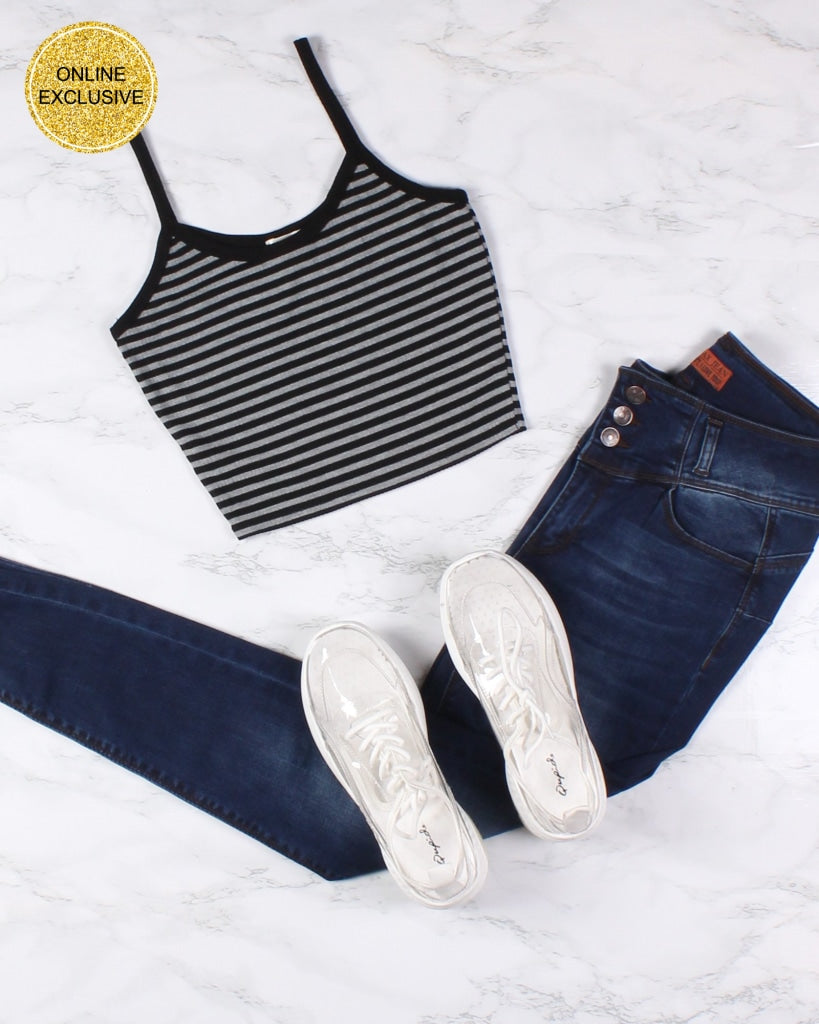 Life Is Better In Stripes Crop Top (Dark Heather Grey) Dark Grey / S Tops