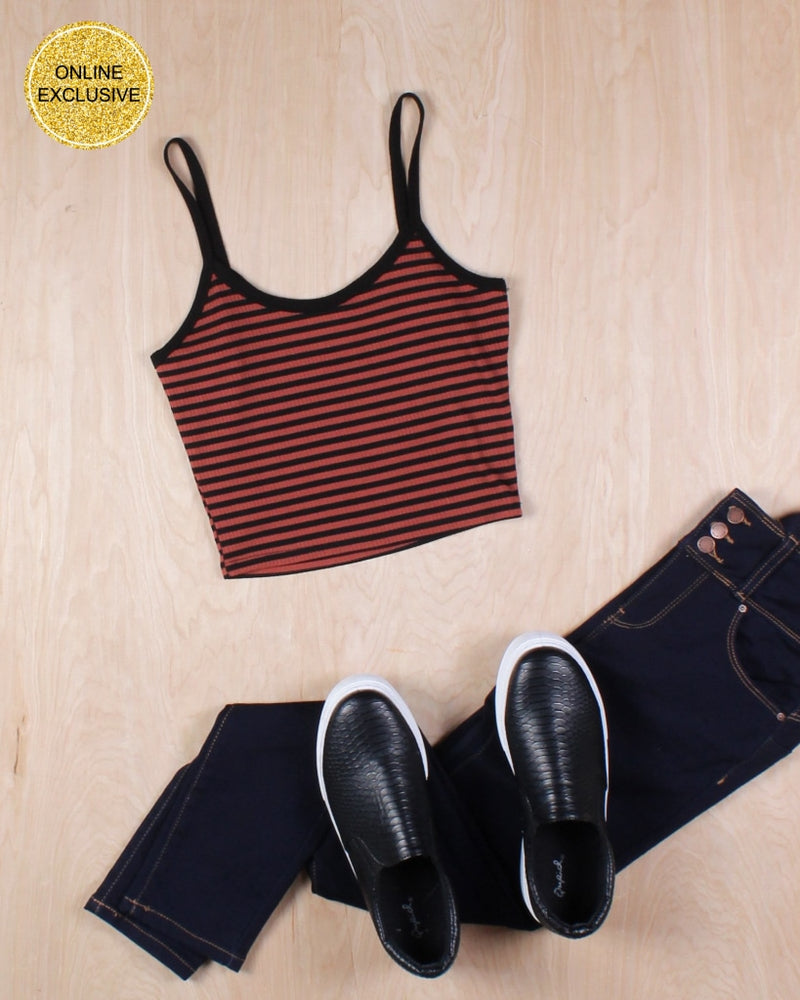 Life Is Better In Stripes Crop Top (Potters Clay) Potters Clay / S Tops