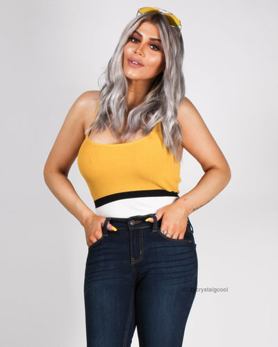 Live Life With A Pop Of Color Crop Top Mustard / S Top
