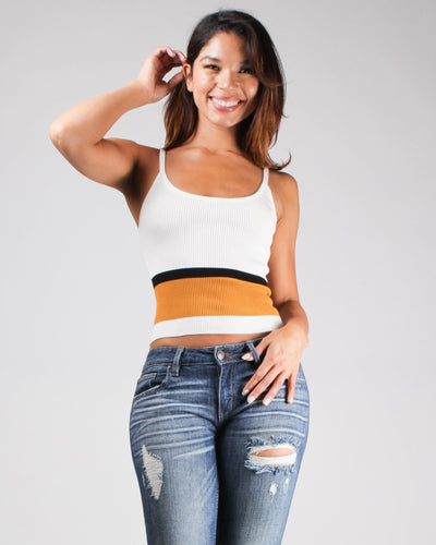 Live Life With A Pop Of Color Crop Top White / S Top