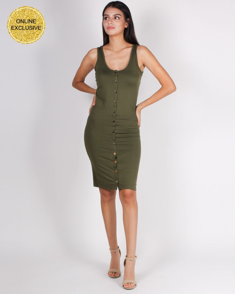 Love And Madness Bodycon Dress (Olive) Olive / S Dresses