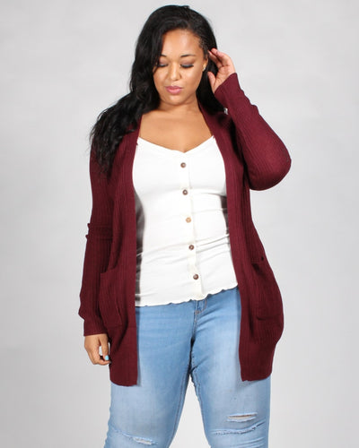 Love Me Knit Plus Cardigan 1X / Burgundy Outerwear