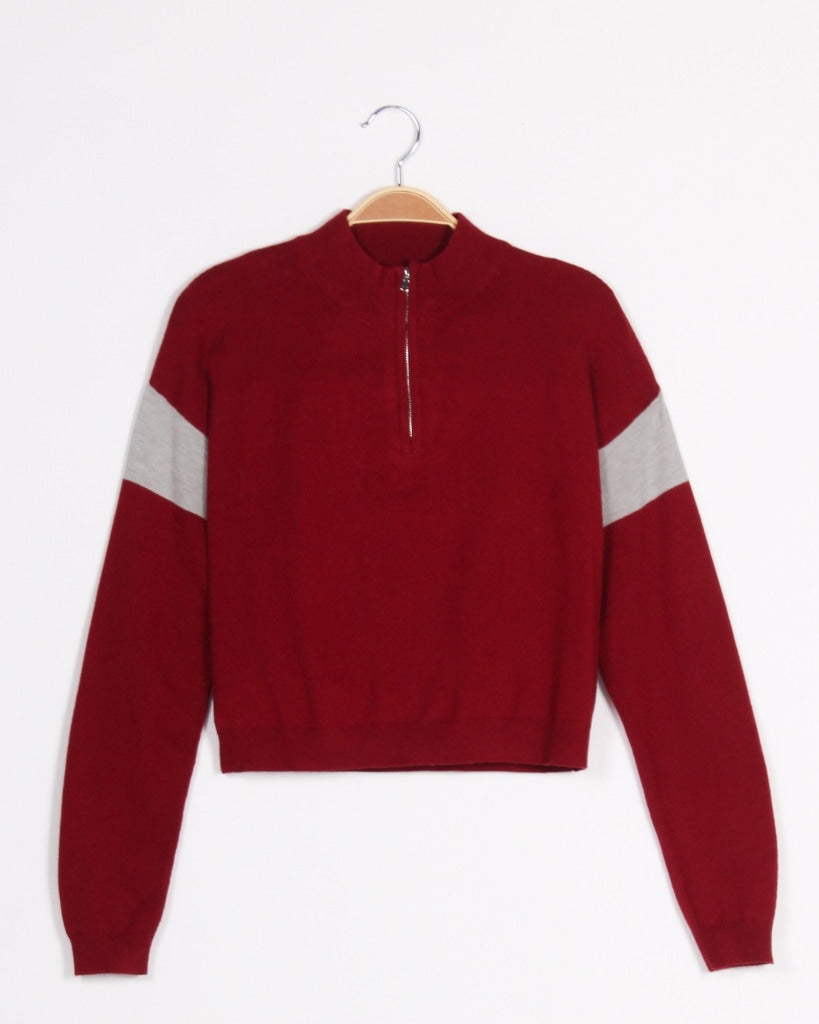 Love More Worry Less Zip-Up Sweater (Red) Red / S Tops