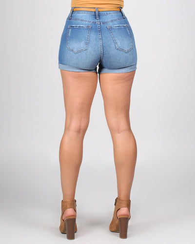 Magical Adventure High Rise Cuffed Shorts With Belt Bottoms