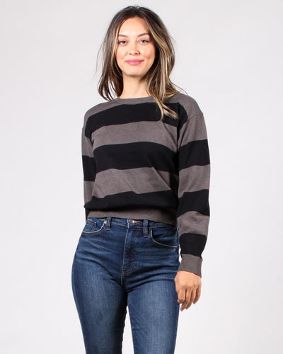 Make A Wish Striped Sweater S / Black And Charcoal