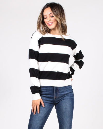 Make A Wish Striped Sweater S / Black And Ivory
