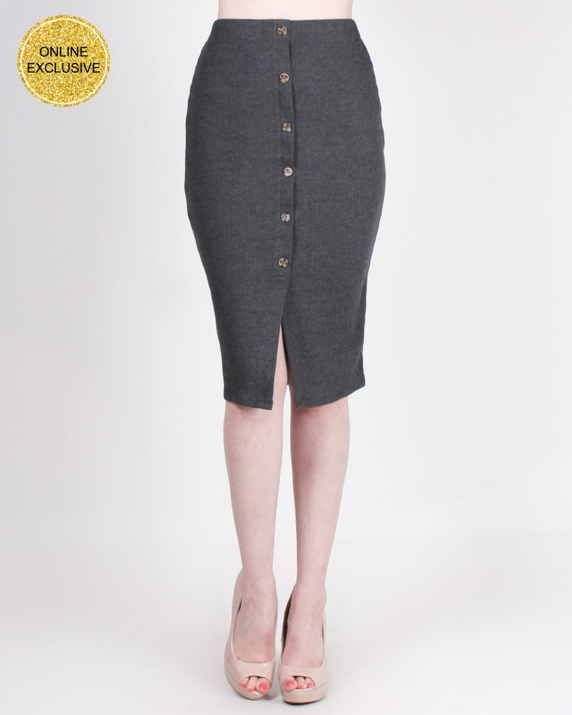 Make Gratitude A Habit Pencil Skirt (Charcoal) Charcoal / S Bottoms