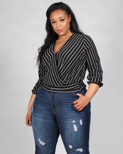Mischief Managed Striped Plus Blouse 1X / Black Tops