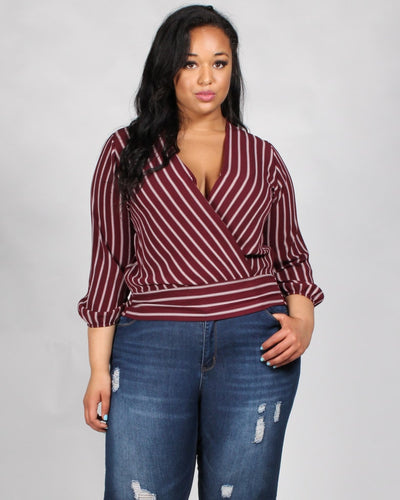 Mischief Managed Striped Plus Blouse 1X / Burgundy Tops