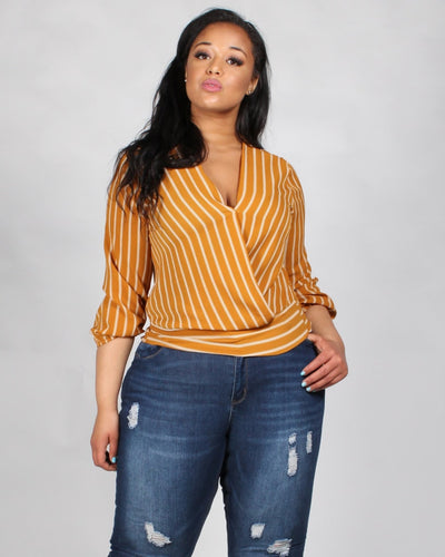 Mischief Managed Striped Plus Blouse 1X / Mustard Tops