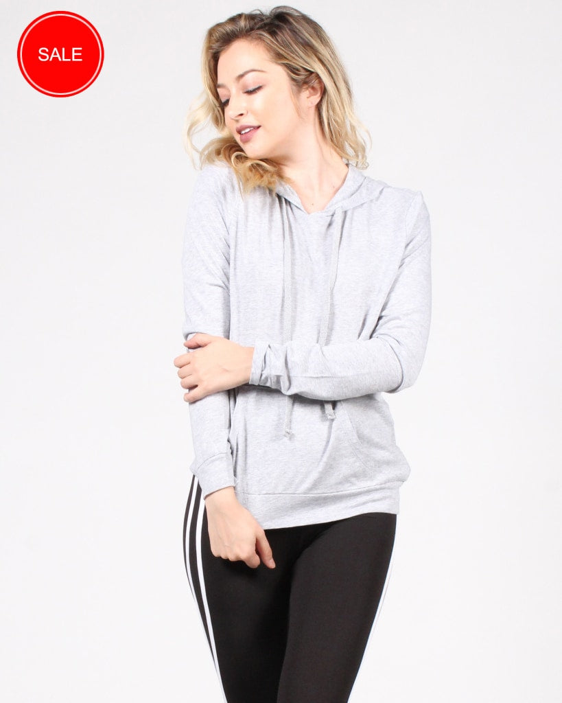 Move Your Body Hooded Long Sleeve Shirt S / Heather Grey Tops