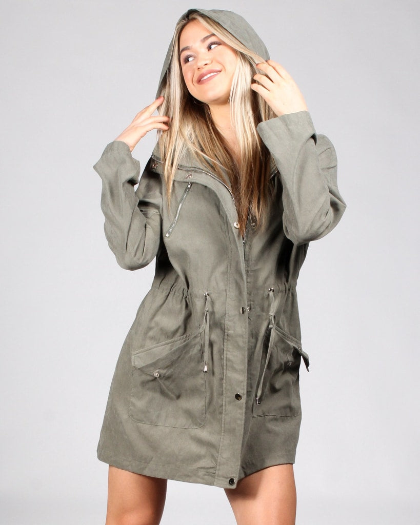 Never Fear Style Is Here Drawstring Jacket S / Olive Outerwear