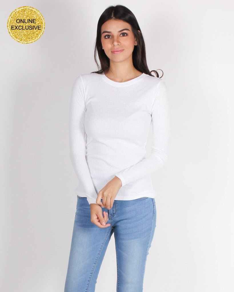 Never Fear Style Is Here Long Sleeve Top (White) White / S Tops