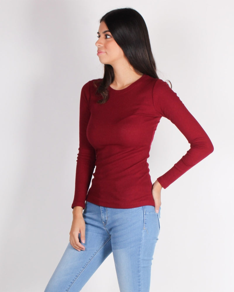 Never Fear Style Is Here Long Sleeve Top (Wine) Wine / S Tops