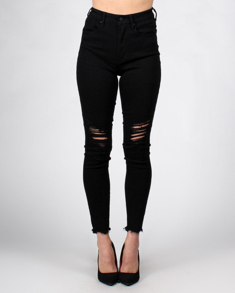 Never Go A-Fray Skinny Jeans 0 / Black Bottoms