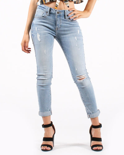 Next Level Mid Rise Distressed Skinny Jeans