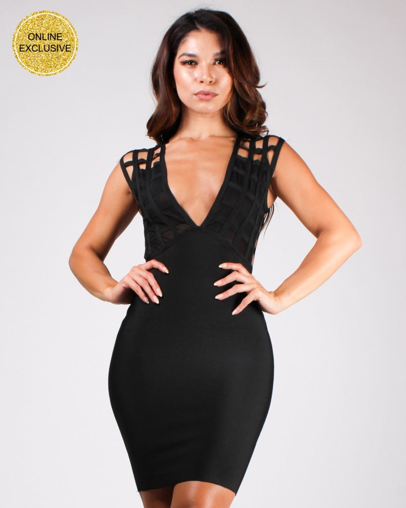 No Limits Caged Bodycon Dress Black / S Dresses