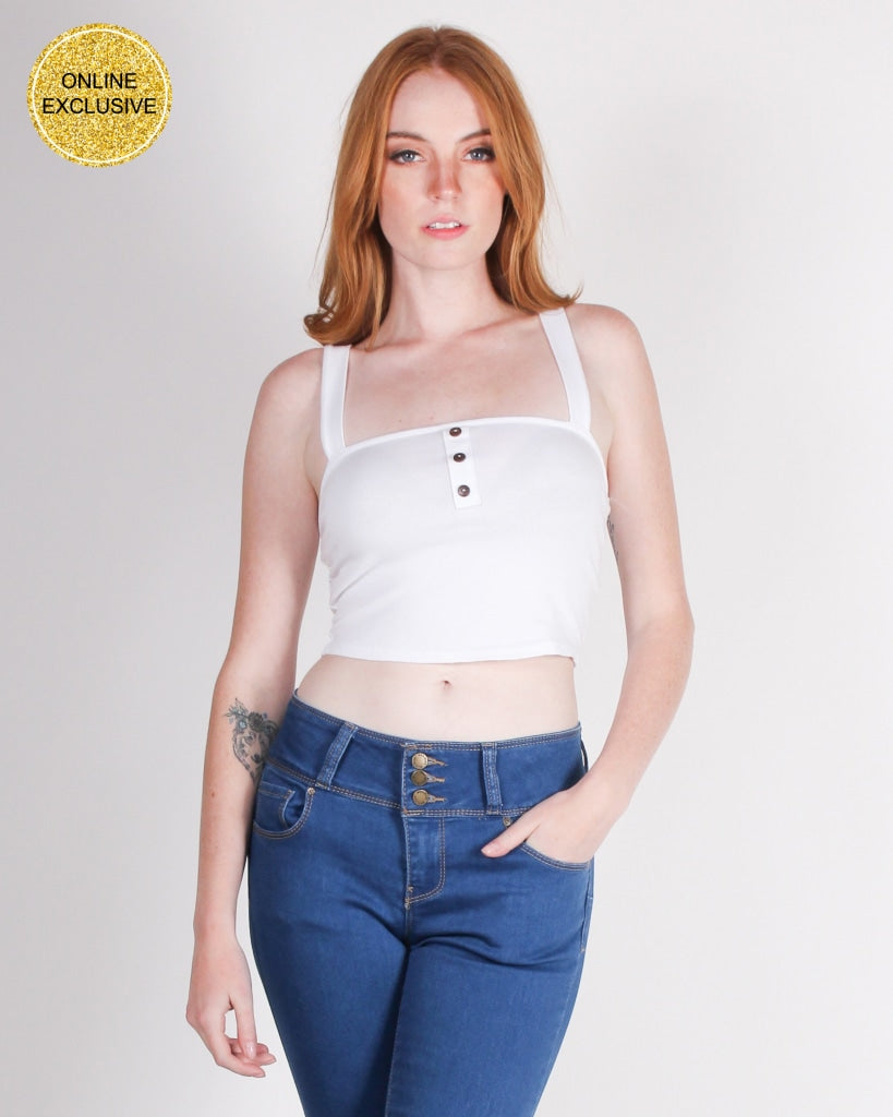 No Risk Magic Crop Top (White) White / S Tops