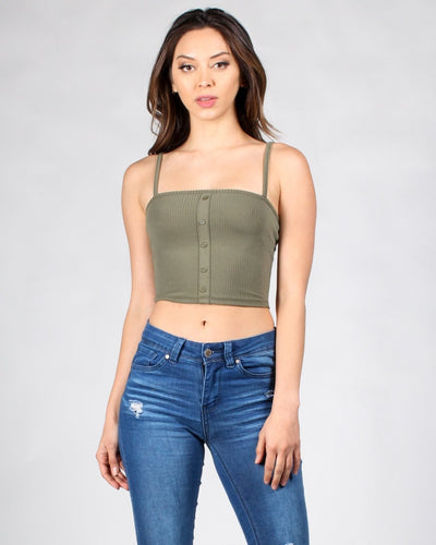 Nowhere To Be But Here Crop Top S / Army Tops