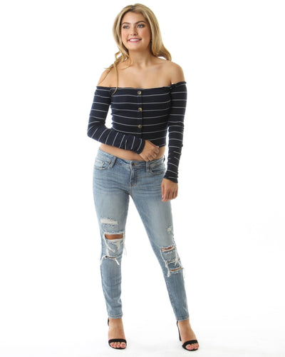 Off The Shoulder Long Sleeve Striped Top